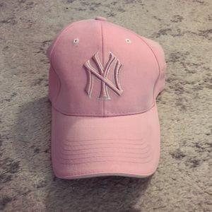 Pink & white New York Yankees baseball hat